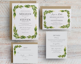 Watercolor Greenery Wedding Invitations Templates, Greenery Wedding Invitations Printable, Wedding Save the Dates, Olive Leaf, Leaves, Green