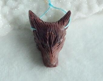 New,Carved Chohua Jasper Wolf Head Pendant Bead,39x28x12mm,11g