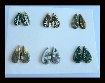 New,6 Pairs Ocean Jasper Faceted Cabochon,18x10x3/19x9x3mm,8.17g