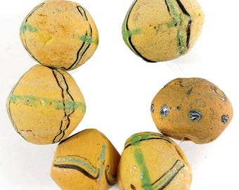6 King Venetian Trade Beads Yellow Bicone Africa Loose 109533