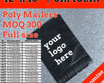 300 poly mailers 12x15, customize logo poly mailers bag,  shipping bag, polymailers, courier bag, Shipping Envelopes, Mailing Envelopes