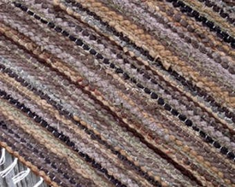 Hand woven rag rug, Scandinavian Style,  2.98 feet by 5.15 feet(91cm x 157cm)  colors light beige, beige, brown, ready for sale