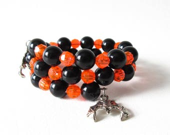 Memory Wire Wrap Bracelet Black and Orange Beaded Bracelet Halloween Bat Charm Jewelry