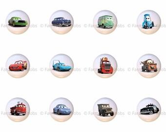 Set Of 12 Disney Cars Ceramic Drawer Pull Cabinet Knobs