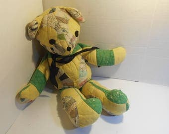 """Stuffed Teddy Bear Plush Made From Vintage Quilt Stands 19"""" Tall x 15"""" Long"""