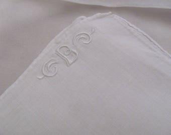 Hankie Large White Cotton MENS Hankie Handkerchief Monogrammed B