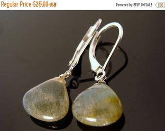 Flash Labradorite Briolette Sterling Silver Leverback Earrings