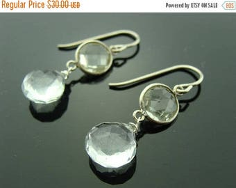 Green Amethyst and Quartz 925 Sterling Silver Dangle Earrings