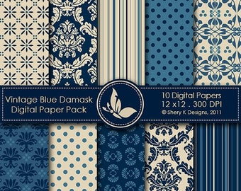 40% off Vintage Blue Damask Paper Pack - 10 Digital papers - 12 x12 - 300 DPI