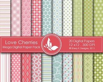 40% off Love Cherries Mega Paper Pack - 20 Printable Digital papers - 12 x12 - 300 DPI