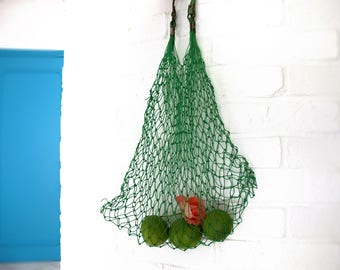 Rare French Vintage green plastic Mesh Market Basket, Reusable String Shopping Grocery Bag Shopper Tote Mesh , retro kitchen