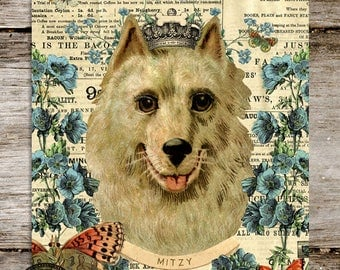 Personalized Pomeranian Dog Antique Style Print from Curious London