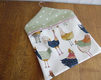 Chicken print and spotty green PVC oilcloth type fabric peg bag