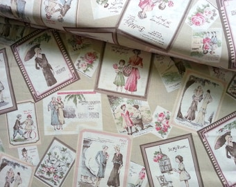 Japanese Fabric Cotton, Yuwa Fabric, 1970s Fabric, 60s Fabric, Vintage Fabric, Retro Fabric, 70s Fabric/Vintage Ladies Frame/a yard