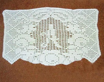 Vintage Chair Back Monogram A Crocheted Doily White Cotton Crochet