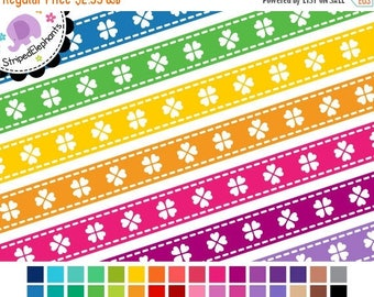 40% OFF SALE Stitched Ribbon Clip Art - Heart Clover Digital Ribbons - Instant Download - Commercial Use