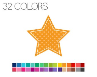 Star Clip Art Polka Dot - Stars Digital Clipart - Instant Download - Commercial Use