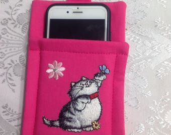 Cell Phone Carrier with a appliqued black and white Cat holding a blue butterfly - also a flower