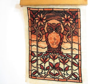 Vintage Finished Owl Needlepoint ... Owl, Arts & Crafts Stained Glass Style Needlepoint ... 1970s Hand Stitched Fiber Art, Ready to Frame