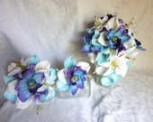 Reserved blue with purple tipped orchid with white and light blue calla lily with white lily and hydrangea bridal bouquet set