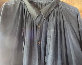 Antique French Farmer Indigo Shirt Smock Biaude Workwear 1900's / English Shop