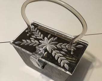 Vintage 1950's Charles S Kahn Gray Lucite Box Purse