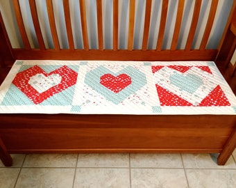 Valentine Table Runner, Quilted Patchwork, Valentine's Day, Handmade Table Mat, Heart Bench Mat, Red Aqua Cream, Dining Decor, Centerpiece