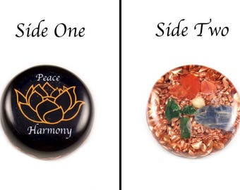 Orgonite® Orgone. Lotus Flower Symbol, Tibetan Crystal, Petalite & Phenacite, Carnelian, Kyanite, Elite Shungite,  Selenite, Tourmaline (g4)