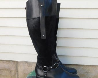 Birthday Sale Vintage Etienne Aigner Black Leather And Suede Equestrian Riding Boots, Size 6.5, Euro 37, UK 4.5