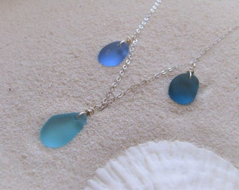 Delicate Sea Glass Necklace with a trio of colors beach layering necklace beach jewelry bridesmaid gift blue sea glass long necklace wedding