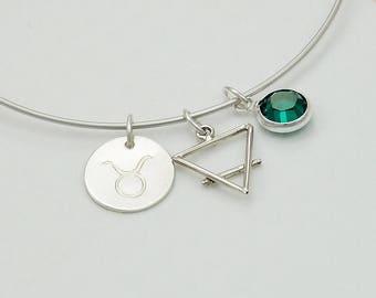 Zodiac Jewelry Bangle Bracelet with Birthstone, New Mom Gift, New Baby Gift, Cancer July Ruby Leo Virgo Libra Scorpio Sagittarius Capricorn