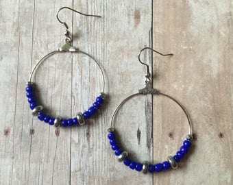 Navy and silver beaded earrings