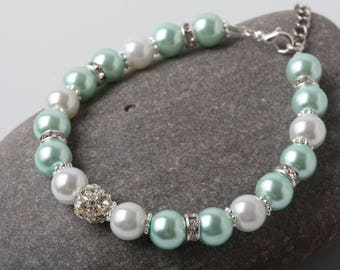 Mint Wedding Bracelet,  Mint Bridesmaid Bracelet, Mint Pearl Bracelet, Mint wedding Jewelry, Bridesmaid Gift, Junior Bridesmaid gift