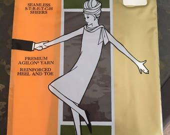 NOS vintage Arthur Murray hosiery, pair of off black ladies stockings, average size hose, seamless nylons, mid-century accessories