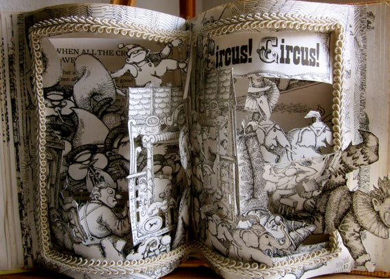 Vintage circus altered book pop up book children's circus