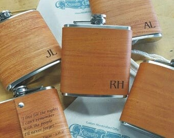 ON SALE 6 Groomsmen Flask with Hand Dyed Engraved Flask Leather Wrap - with FREE Engraved Message on Backside!
