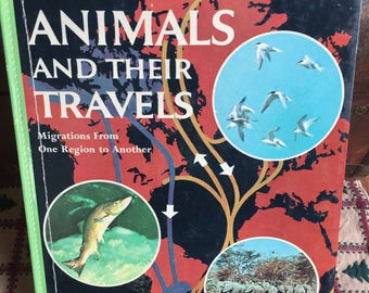 Vintage Nature Book Animals and their Travels Migration Ephemera Collage Art - 1961