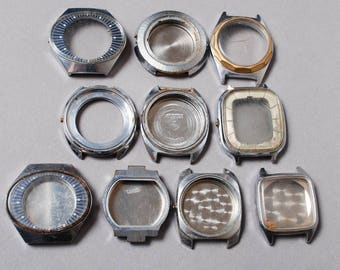 Set of 10 Vintage man watch cases, silver tone