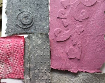 Arts and Crafts Recycled Paper, Handmade Decorative Paper, Artisanal Paper Products, Craft Paper, Textured Paper Collage, Pink Paper Sheets