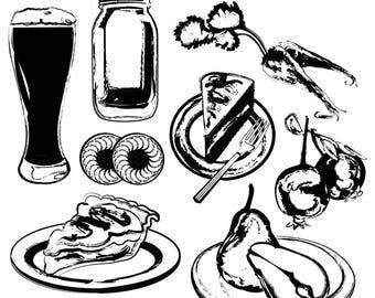 Food Clipart, Food Sketches, Food Art, Dessert Clipart, Pie Clipart, Cake Clipart, Pear Clipart, Digital Download