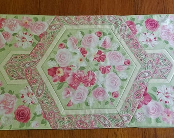 Pink and Green Flowered Quilted Table Runner or Topper