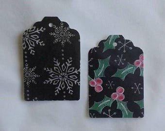 Snow Flake / Holly Leaf / Christmas Gift Tag Set of 24 Tags