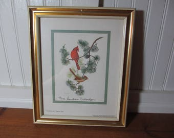Artist Anne Worsham Richardson Signed Print, Cardinals with Virginia Pine, Charleston, SC, Bird Print, 1969 Lithograph