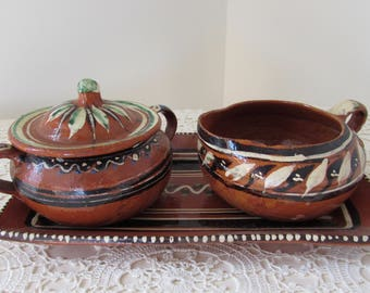 Mexican Pottery Tlaquepaque Set Red Clay Pottery Mexican Folk Art