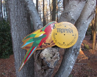 Vintage Sign Parrot Rum Tiki Bar Tropical Decor Bar Sign