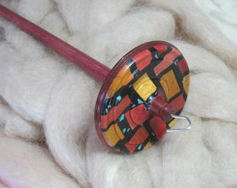 Drop Spindle in Pink Ivory, Yellowheart & Purpleheart Mosaic, Stained Glass Woods, Black InLace, Turquoise Nuggets by Silly Salmon Designs