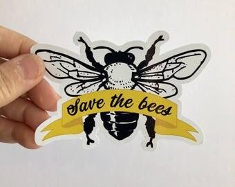 save the bees diecut vinyl sticker
