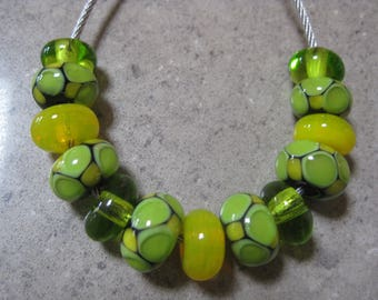 Lampwork Glass Beads. Lemons and Limes. Green and Yellow Mosaic Dot Bead Set. Handmade Glass Beads. Australian Artisan Beads. Kiln Fired.