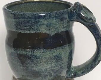 Handmade Pottery Mug, Ceramic Mug, Decorated Mug, Blue Mug, Hatched Decoration, 0824