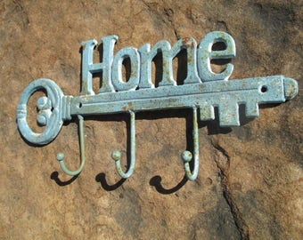 Vintage Cast Iron Home Sign With Key and 3 Hooks